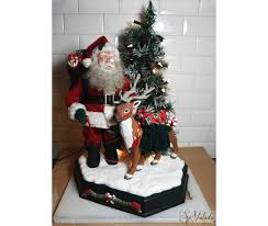 Mrs Claus Animated Christmas Decorations by Rare Large Animated Motionette Santa Claus Reindeer Christmas