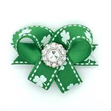 glitzy clovers snap in dog bows bow single st patricks day
