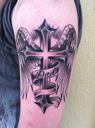 script cross and wings by skyler drago tattoonow