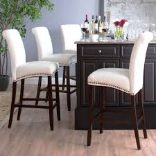 Kitchen Island Chairs With Backs White Leather Bar Stools With Backs 9199