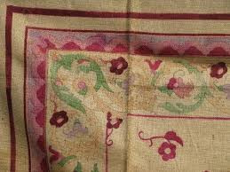 painted floral vintage hessian burlap hooked rug canvas to hook w