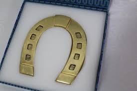 horseshoe paperweight burch gold brass new horseshoe home office work paperweight