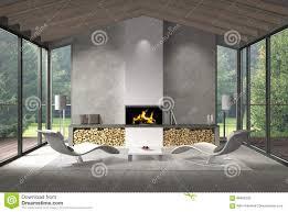 M El R En Wohnzimmer Zeitgenössisches Wohnzimmer Mit Glasfront Und Garten Stock