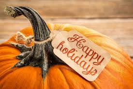 Happy Thanksgiving And Happy Holidays Happy Holidays Price Tag On Pumpkin Stock Image Image Of Wood