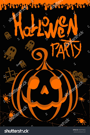 vector halloween party poster template pumpkin stock vector