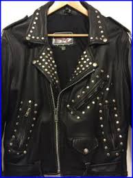 80s Studded Punk Black Motorcycle Leather Biker Jacket Mens Medium
