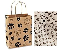 paw print tissue paper paw print gift bag set set of 5 gift bags with paw print