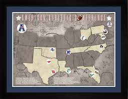 aac map aac football teams stadiums tracking location map gift