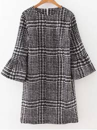 houndstooth dress bell sleeve houndstooth dress black dresses 2018 l zaful