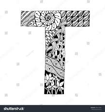 zentangle stylized alphabet letter t doodle stock vector 458114902