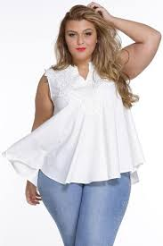 plus size white blouses sleeveless white embroidered design plussize blouse top