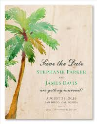palm tree wedding save the date paradise island by