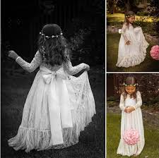 vintage communion dresses vintage princess lace flower girl dresses sheer neck sleeves