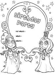 happy birthday party invitation coloring color luna