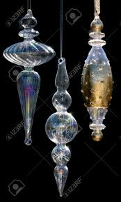 blown glass ornaments with iridescence and gold