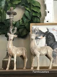 Christmas Reindeer Table Decor by Christmas Reindeer Statue Holiday Table Centerpiece Deer