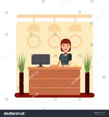 Free Standing Reception Desk Flat Hotel Reception Desk Young Woman Stock Vector 564664366