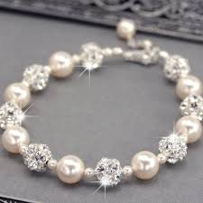 pearl silver bracelet images Pearl rhinestone crystal bridal earrings sterling silver jpg