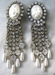 and pearl chandelier earrings unsigned k j l rhinestones faux pearls chandelier earrings from