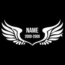 wings name and date vinyl decal car truck window bumper