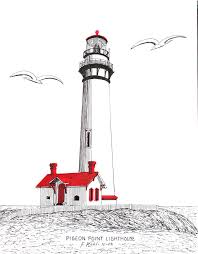 pigeon point lighthouse drawing by frederic kohli