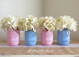 Baby Shower Leri - pink and blue distressed mason jars baby shower centerpieces