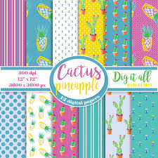 Scrapbook Paper Packs Pineapple Scrapbook Paper Cactus Digital Paper Pack Floral