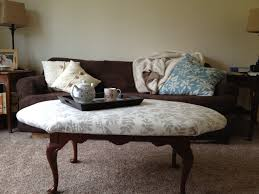 beautiful oval white floral fabric top ottoman coffee table with