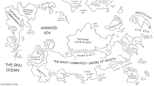 Black World Map by The Great Linux World Map