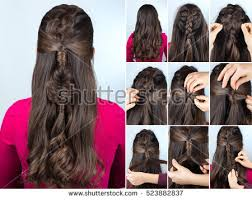 step bu step coil hairstyles modern hairstyle boho braid curly loose stock photo 523882837