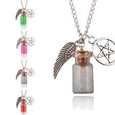 handmade angel necklace images Supernatural handmade angel wing pentagram and salt bottle jpg