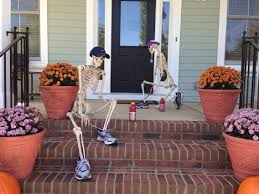halloween front porch decorations out for a run baxter skeletons
