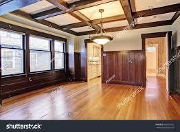 empty room wood paneled walls coffered stock photo 458501902