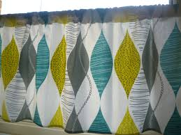Gray Cafe Curtains Teal Curtain Panel Valance Cafe Curtain Grey Yellow Green Rod