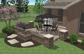 Brick Patio Diy Diy Square Brick Patio Design With Seat Walls And Fire Pit