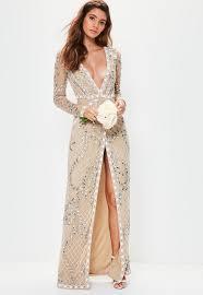 sleeve maxi dress bridal sleeve plunge embellished maxi dress missguided
