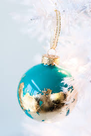 diy painted gold leaf ornaments an ornament swap the sweetest