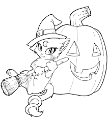 kitty cat free halloween coloring pages for kindergarten