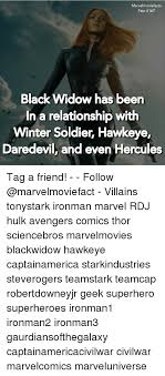 Black Widow Meme - marvelmoviefacts fact 167 black widow has been in a relationship