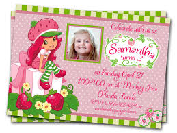 Sample 1st Birthday Invitation Card Strawberry Shortcake Birthday Invitations Afoodaffair Me