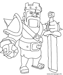 barbarian king clash clans coloring pages printable