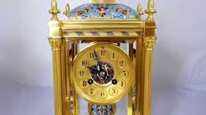 Mantel Clocks Antique Antique French Ormolu And Champleve Enamel 4 Glass Mantel Clock