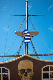 Wooden Nautical Flags Rethymon Pirate Ship And Broken Greek Flag With A Beautiful