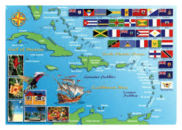 Large Map Of The World Large Map Of The Countries And Territories In Caribbean With Flags