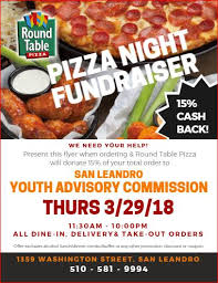 round table pizza delivery near me of san leandro youth advisory commission spring fundraiser round
