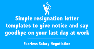 resignation letter templates free simple example emails