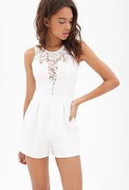 forever 21 rompers and jumpsuits lyst forever 21 lacepaneled ribbed romper in white