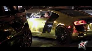 audi r8 gold tyga gets a gold audi r8 roadstarr tv exclusive youtube