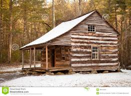 rustic log cabin in winter stock images image 36675924