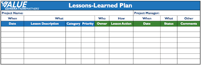 generating value by creating a lessons learned plan u2013 value